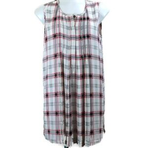 The Limited Outlet Pleated Plaid Sleeveless Tunic